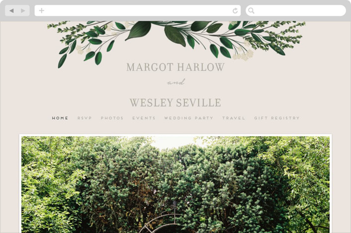 This is a green wedding website by Kaydi Bishop called Watermark printing on digital paper.
