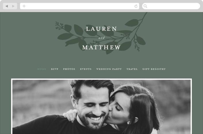 This is a green wedding website by Amy Kross called Falling Branch printing on digital paper.