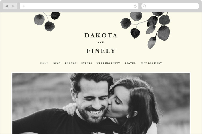 """Silver Dollar Eucalyptus"" - Wedding Websites in Ivory by Four Wet Feet Studio."