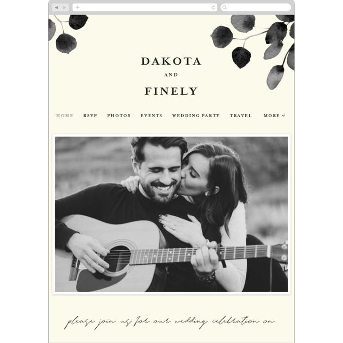 """Silver Dollar Eucalyptus"" - Wedding Websites in Ivory by Shannon Chen."