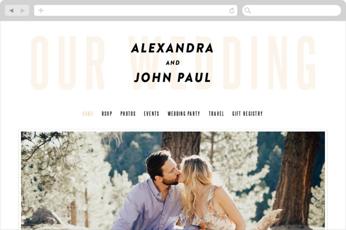 """""""With Great Joy"""" - Wedding Websites in Peach by Up Up Creative."""
