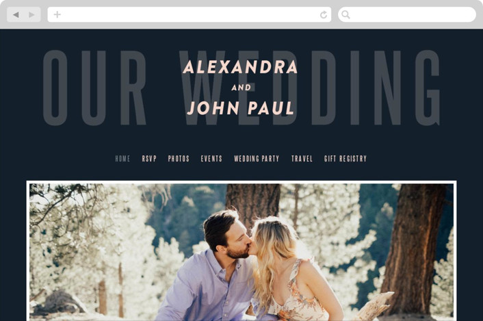 This is a blue wedding website by Up Up Creative called With Great Joy printing on digital paper.