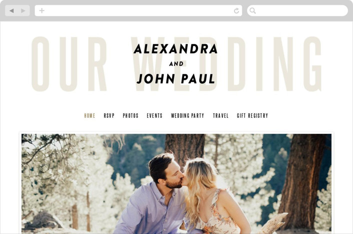 This is a brown wedding website by Up Up Creative called With Great Joy printing on digital paper.