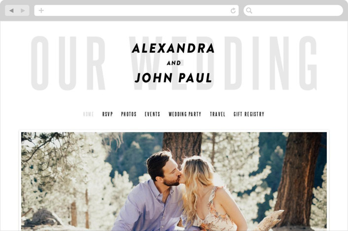 This is a grey wedding website by Up Up Creative called With Great Joy printing on digital paper.