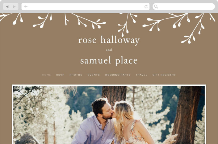 This is a brown wedding website by Emmeline Bramble called A Dash of Delight printing on digital paper.