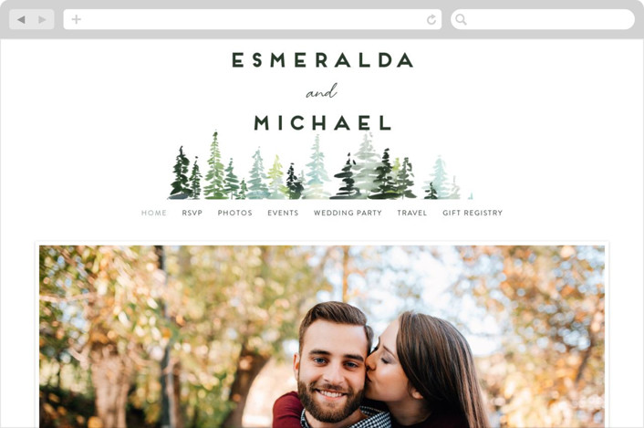 """""""Evergreens Watercolor"""" - Wedding Websites in Forest by Yao Cheng Design."""