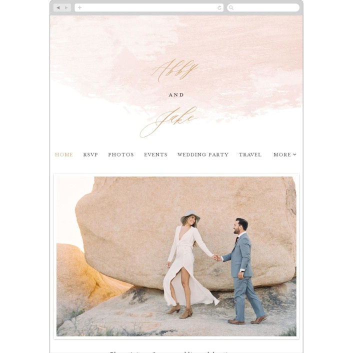 """Morning Mist"" - Modern Wedding Websites in Blush by Carrie ONeal."