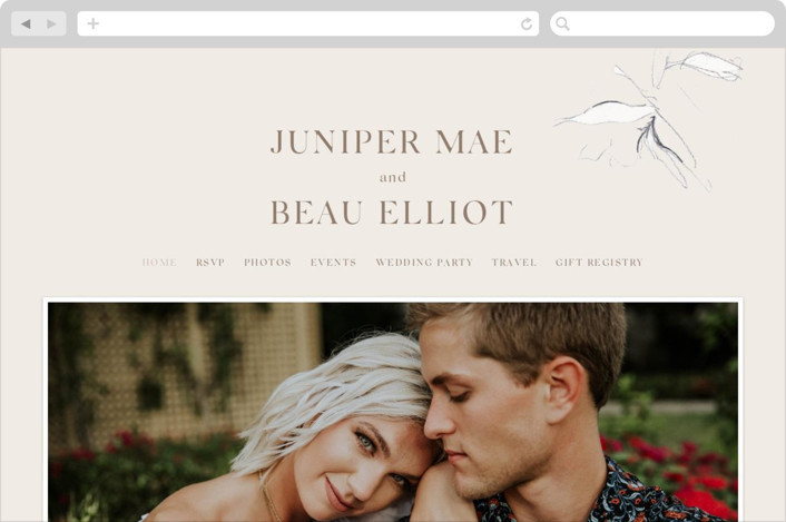 This is a pink wedding website by Mere Paper called Juniper printing on digital paper.