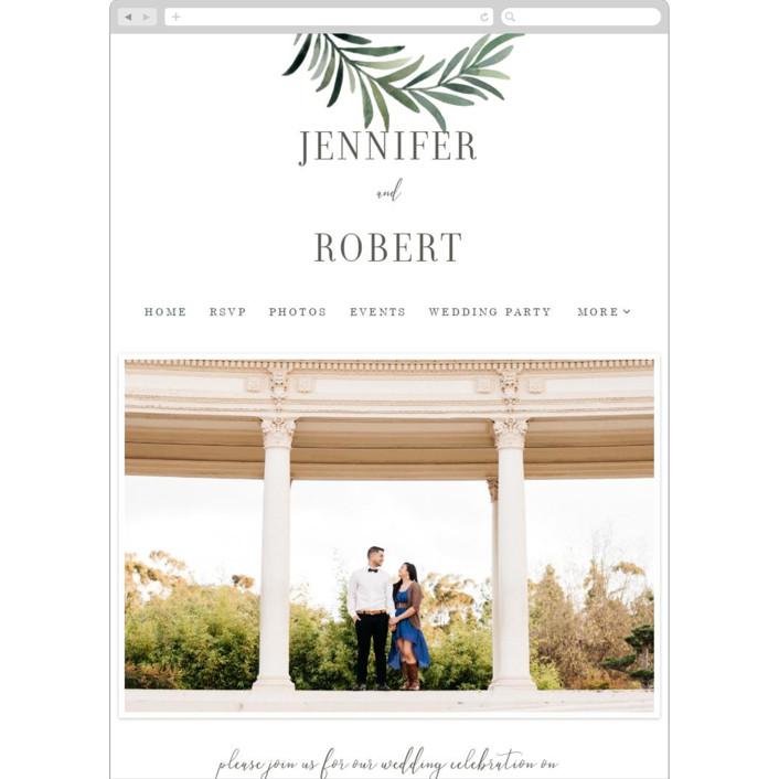 """""""Green leaf frame"""" - Wedding Websites in Limestone by Yaling Hou Suzuki."""
