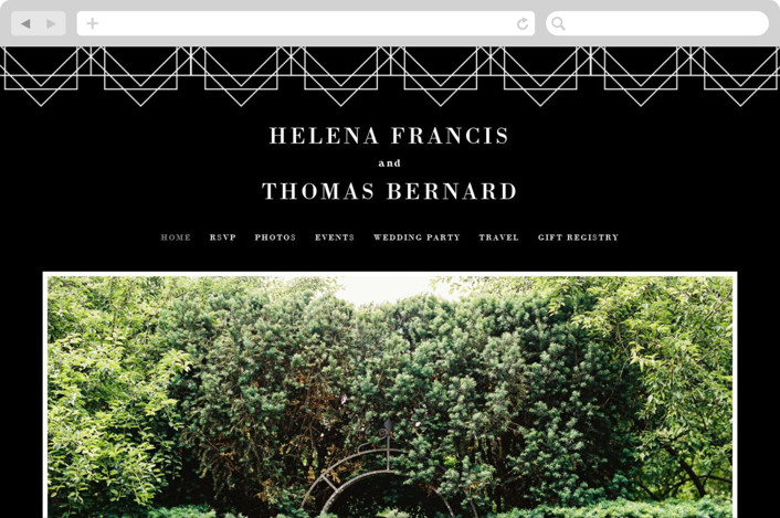 This is a black wedding website by 2birdstone called Helena printing on digital paper.