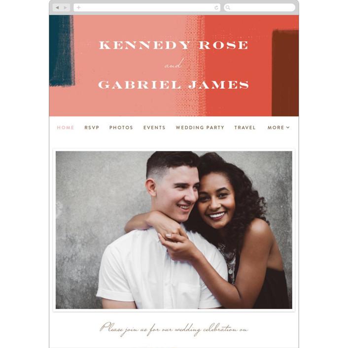 """painted colorblock"" - Modern Wedding Websites in Poppy by Angela Marzuki."