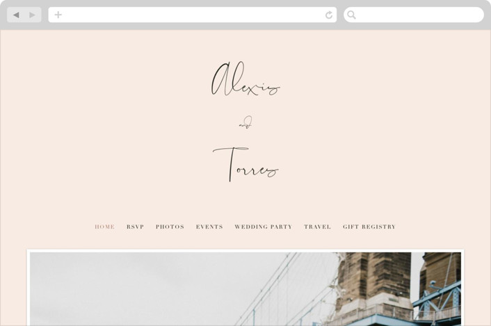 """Just the Two of Us"" - Wedding Websites in Blush by Jennifer Wick."