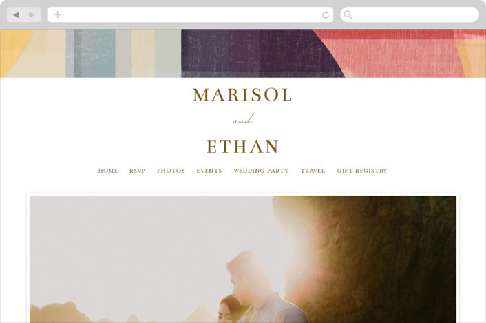 """""""Edgewater"""" - Modern Wedding Websites in Sunset by Griffinbell Paper Co.."""