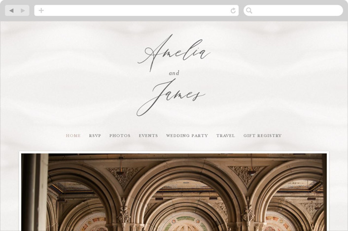 This is a brown wedding website by Ana Sharpe called Overjoyed printing on digital paper.