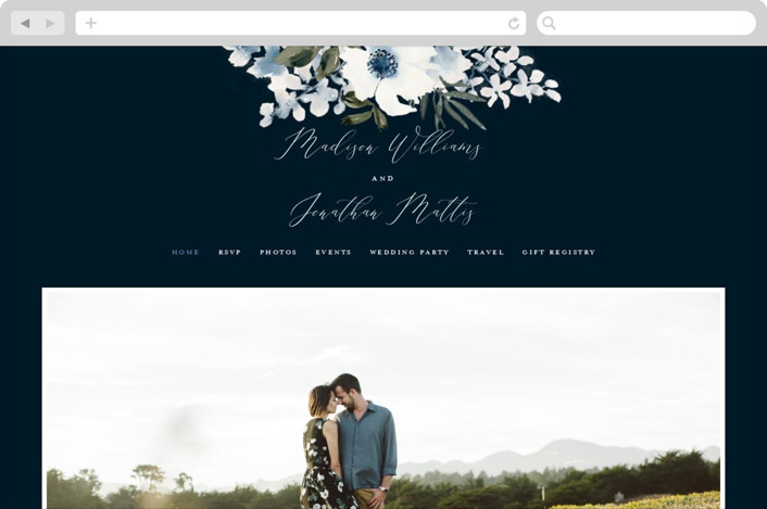 This is a blue wedding website by Chris Griffith called Nantucket Romance printing on digital paper.