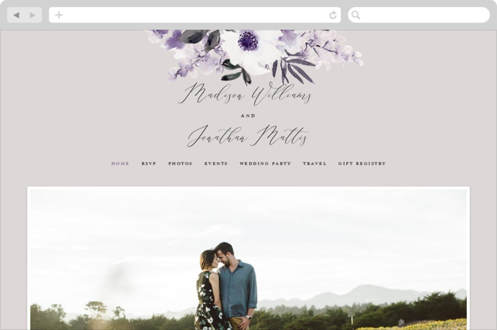 This is a purple wedding website by Chris Griffith called Nantucket Romance printing on digital paper.