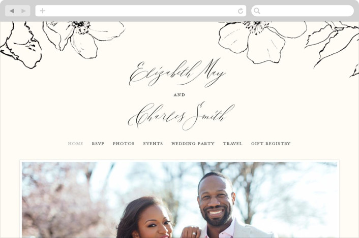 This is a white wedding website by Design Lotus called Elysium printing on digital paper.