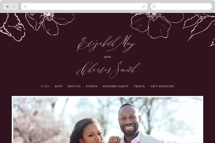 This is a purple wedding website by Design Lotus called Elysium printing on digital paper.