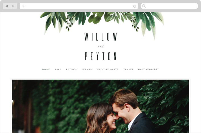"""""""Fresh Greens"""" - Wedding Websites in Emerald by Susan Moyal."""