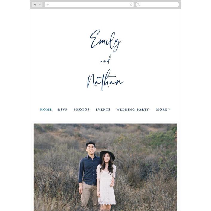 """Semi Formal"" - Wedding Websites in Navy by Paper Dahlia."