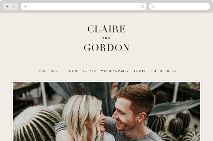 This is a beige wedding website by Kelly Schmidt called The Loden printing on digital paper.