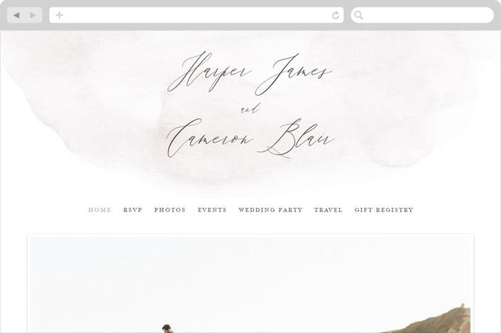 """Sloped"" - Wedding Websites in Ecru by Everett Paper Goods."