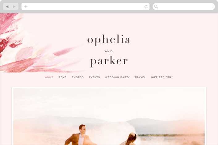 This is a pink wedding website by Robin Ott called pollen printing on digital paper.