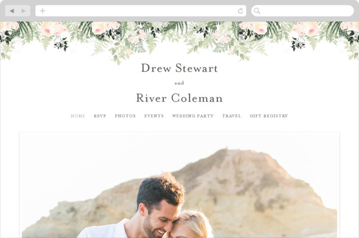 This is a green wedding website by Phrosne Ras called beautiful posies printing on digital paper.