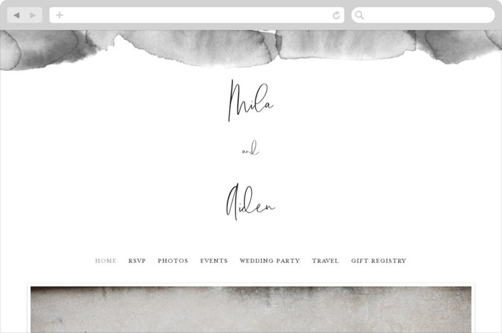 This is a black and white wedding website by Design Lotus called Moxie printing on digital paper.