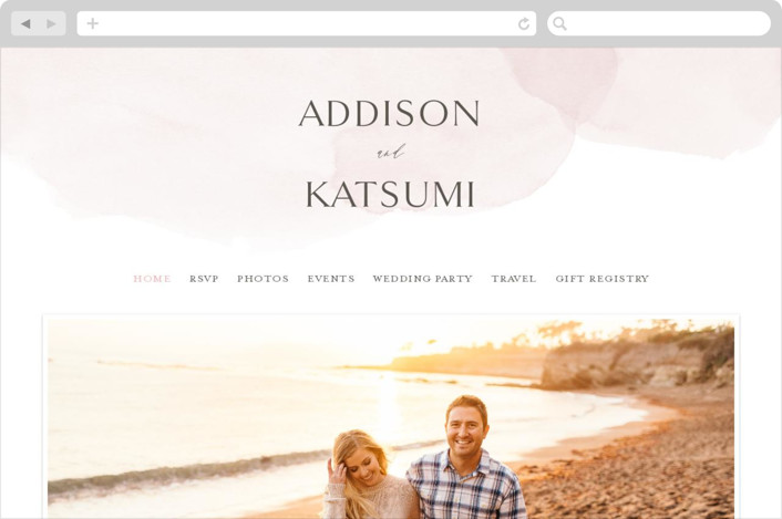 This is a pink wedding website by Everett Paper Goods called Softly Layered printing on digital paper.