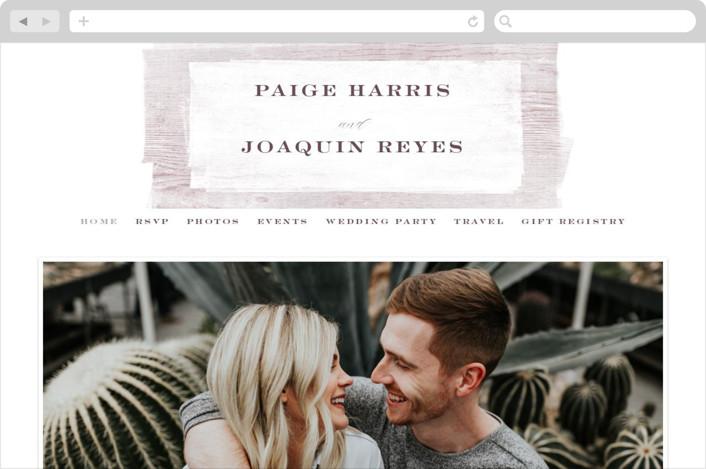 This is a purple wedding website by Hooray Creative called Barnwood printing on digital paper.