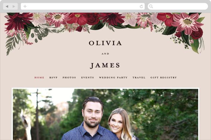 """Midnight Botanicals"" - Wedding Websites in Cranberry by Susan Moyal."