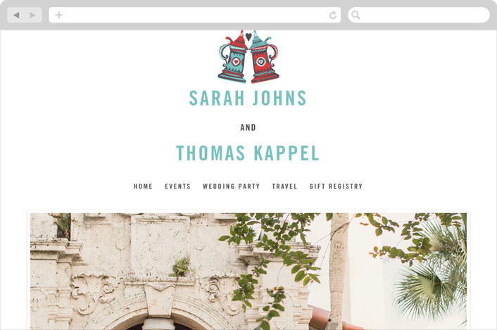 """German Stein Toast"" - Whimsical & Funny, Destination Wedding Websites in Turquoise by Casey Fritz."