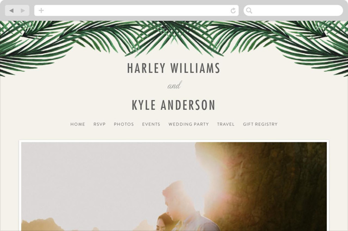 This is a gold wedding website by Elly called Tropical Love printing on digital paper.