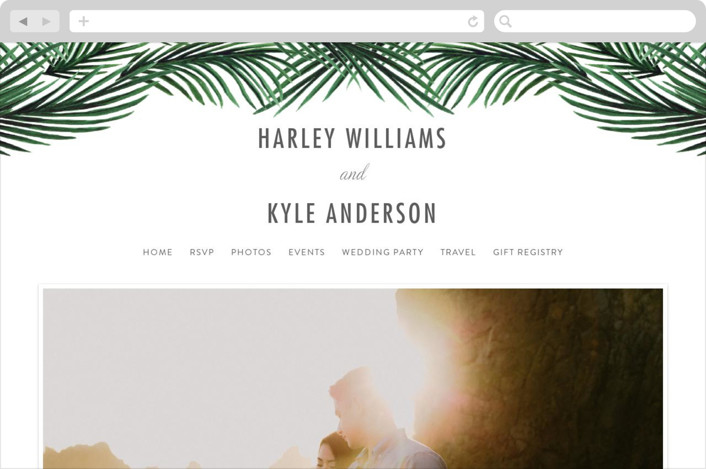 This is a silver wedding website by Elly called Tropical Love printing on digital paper.