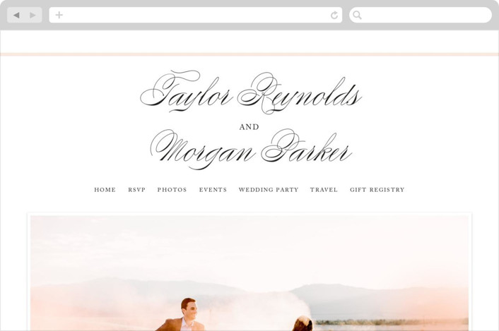 """""""Darling and Dashing"""" - Bold typographic, Simple Wedding Websites in Blush by Alston Wise."""