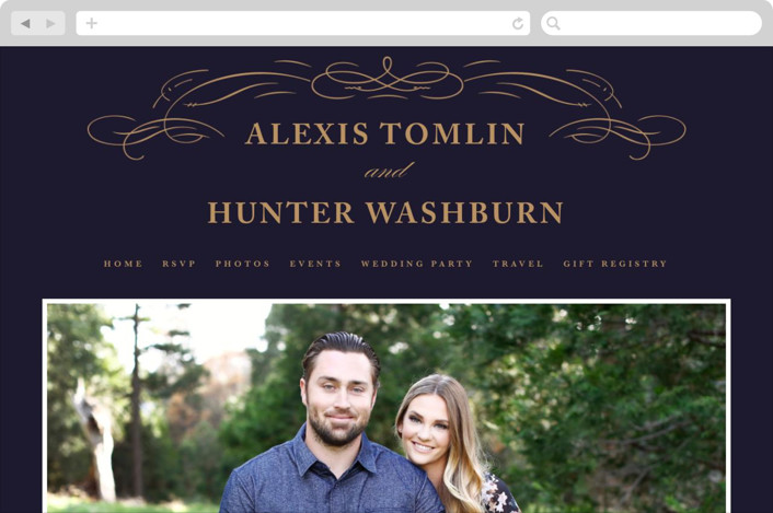"""Elegant Flourishes"" - Wedding Websites in Navy by Kristen Smith."
