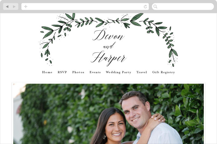 This is a green wedding website by Kelly Schmidt called Floral Wreath printing on digital paper.