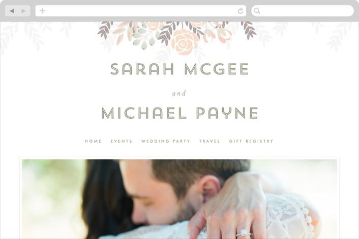 """Flower Burst"" - Floral & Botanical Wedding Websites in Blush by Phrosne Ras."
