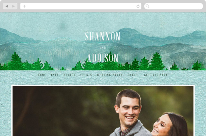 This is a blue wedding website by Elly called Adventure Awaits printing on digital paper.