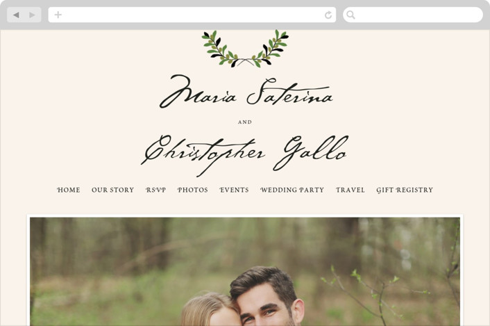 """Italiano"" - Classical, Rustic Wedding Websites in Olive by Yolanda Mariak Chendak."