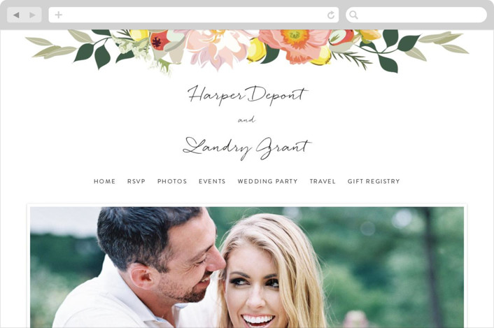 """Spring Blooms"" - Floral & Botanical Wedding Websites in Blush by Susan Moyal."