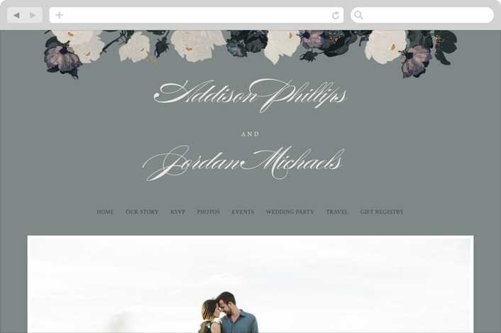 """Romanticism"" - Floral & Botanical Wedding Websites in Slate by Annie Walker."