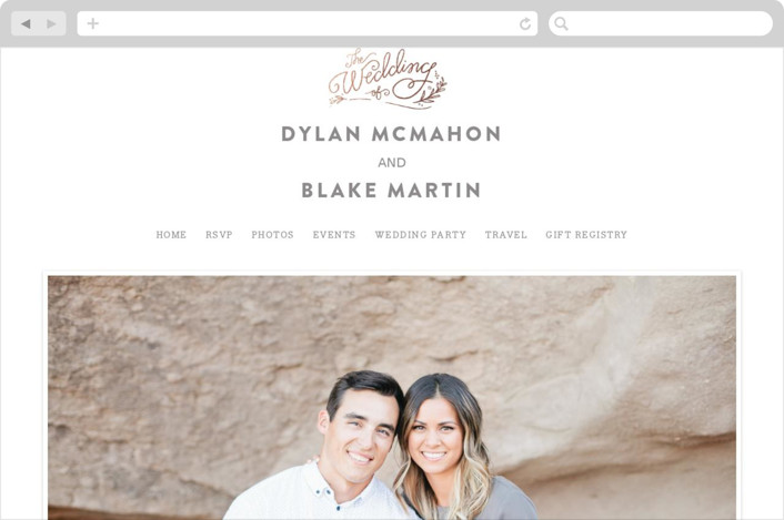 Rolling Names Wedding Websites In Rose Gold By Jennifer Wick