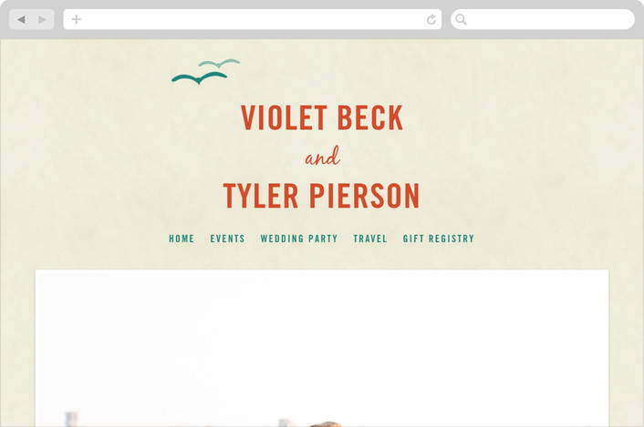 """BLOCK PRINT WAVES"" - Modern, Whimsical & Funny Wedding Websites in Teal by bumble ink."