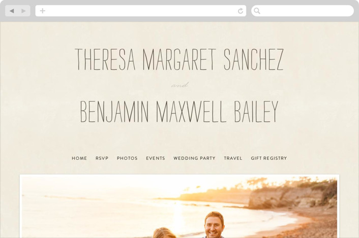 """Moment in Time"" - Vintage Wedding Websites in Linen by The Social Type."