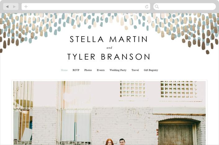 """""""Modern Dash"""" - Wedding Websites in Gold by Makewells."""