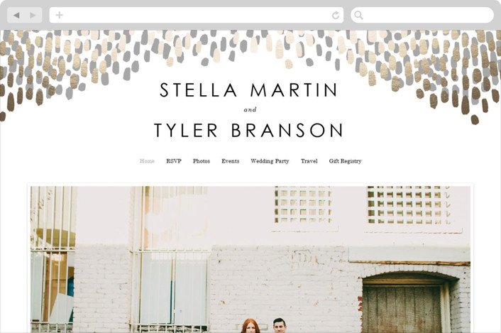 This is a black and white wedding website by Makewells called Modern Dash printing on digital paper.