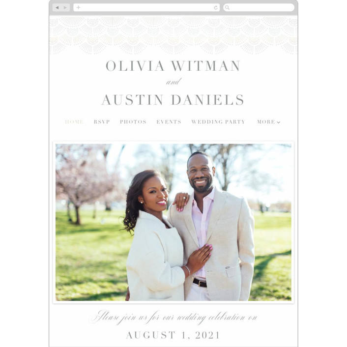 """Adorn"" - Wedding Websites in Shimmer by Kristen Smith."