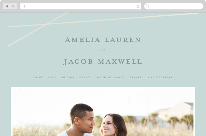"""Minimal Shine"" - Wedding Websites in Sea Mist by Emily Betts."
